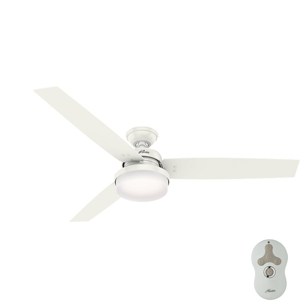 Hunter Sentinel 60 In Led Indoor Fresh White Ceiling Fan With Universal Handheld Remote Control