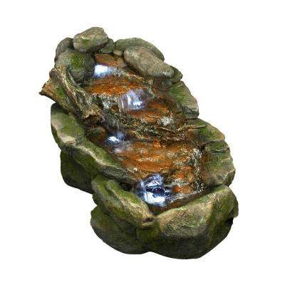 Flat Rock Stream Fountain with LED Lights