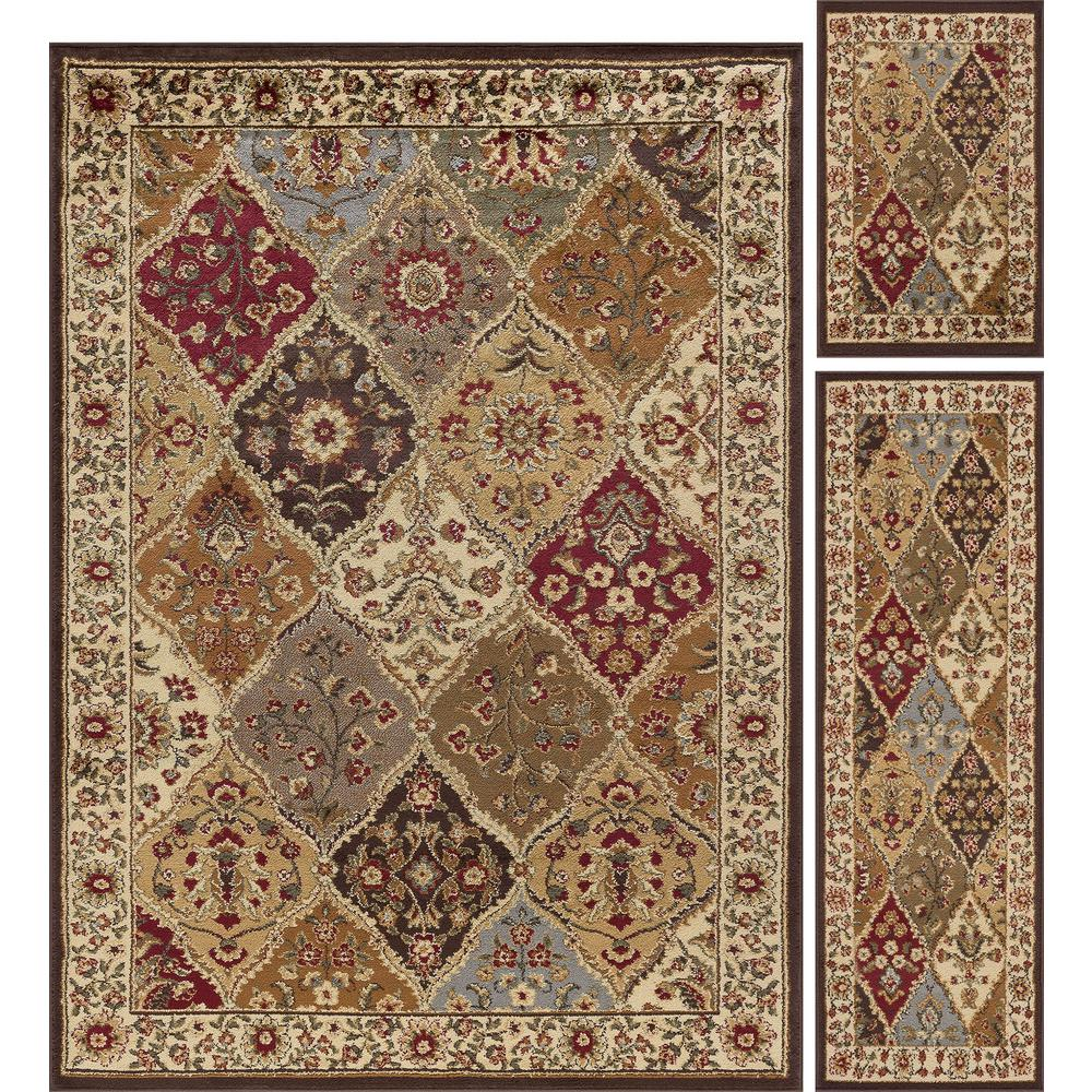 Tayse Rugs Elegance Multi 5 Ft X 7 3 Piece Rug Set 5120 Pc The Home Depot
