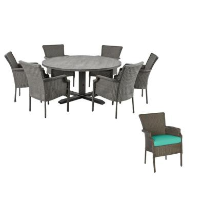 Grayson 7-Piece Ash Gray Wicker Outdoor Patio Dining Set with CushionGuard Seaglass Turquoise Cushions