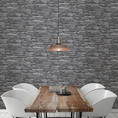 Charcoal Stacked Slate Industrial Wallpaper