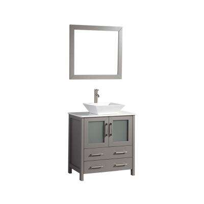 Ravenna 30 in. W x 18.5 in. D x 36 in. H Bathroom Vanity in Grey with Single Basin Top in White Ceramic and Mirror