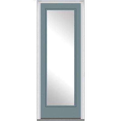 36 in. x 96 in. Classic Left-Hand Inswing Full Lite Clear Painted Fiberglass Smooth Prehung Front Door