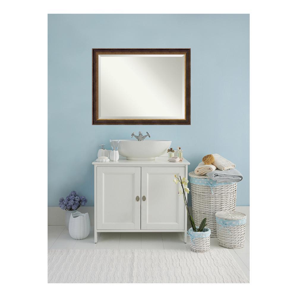 Veneto Distressed Black Wood 45 in. W x 35 in. H Single Traditional Bathroom Vanity Mirror