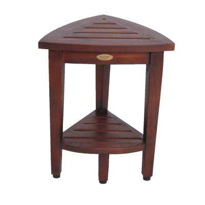 Oasis Compact Teak Corner Shower Bench with Shelf