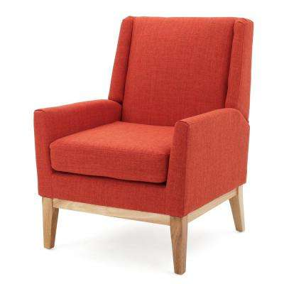Sariyah Muted Orange Fabric Wing Back Accent Chair