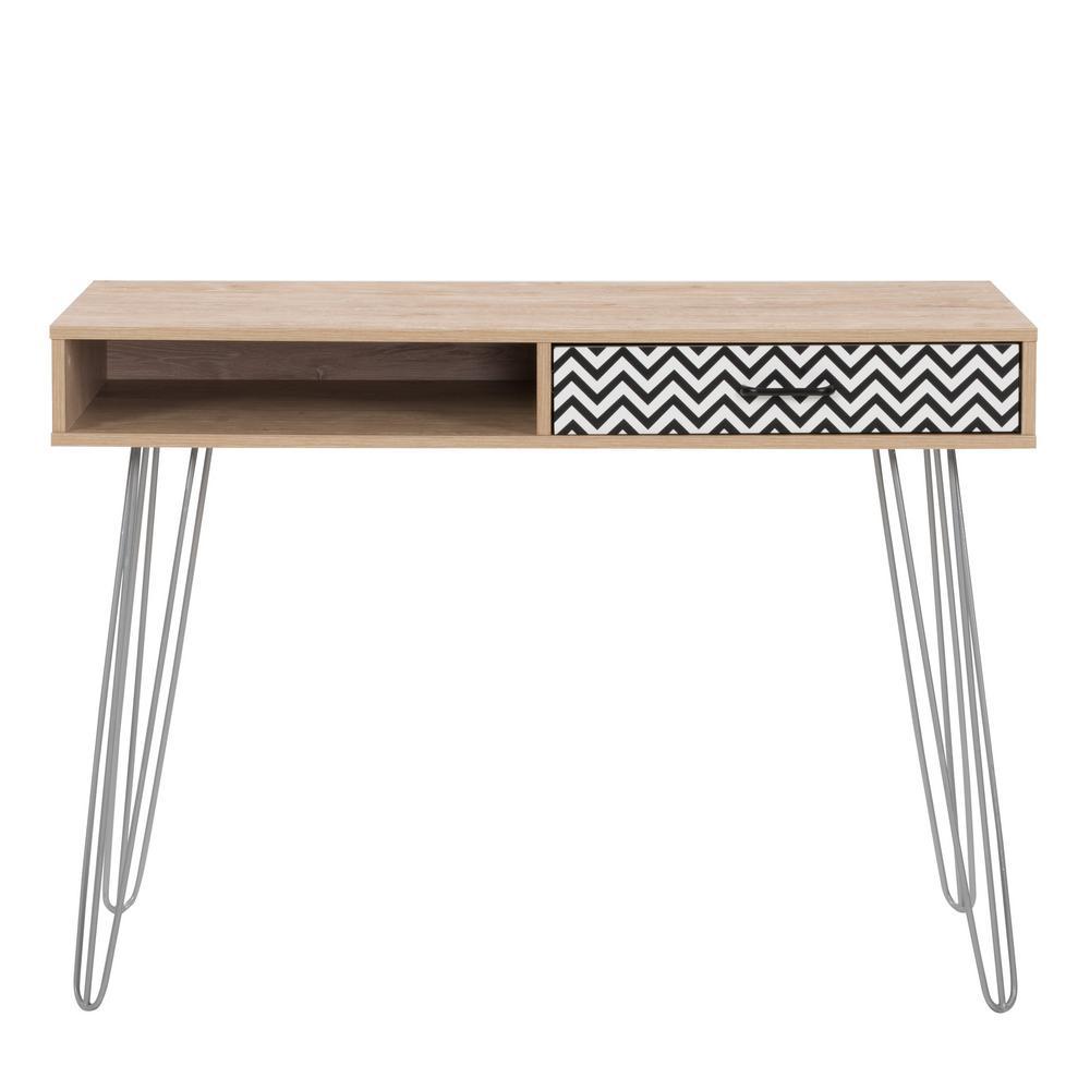 42 in. Rectangular Light Khaki 1 Drawer Writing Desk with Built-In Storage