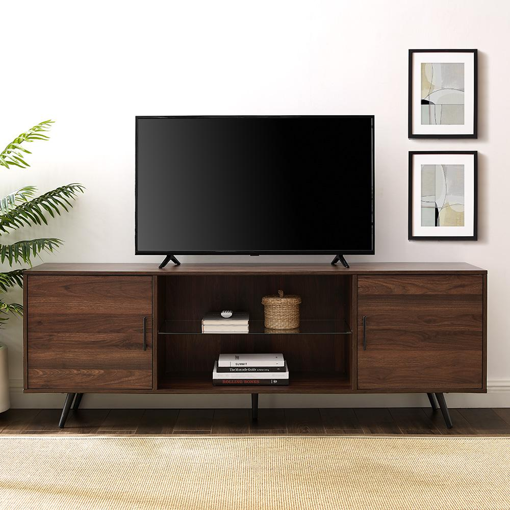 WalkerEdisonFurnitureCompany Walker Edison Furniture Company 70 in. Dark Walnut Mid-Century Modern 2-Door Console TV Stand