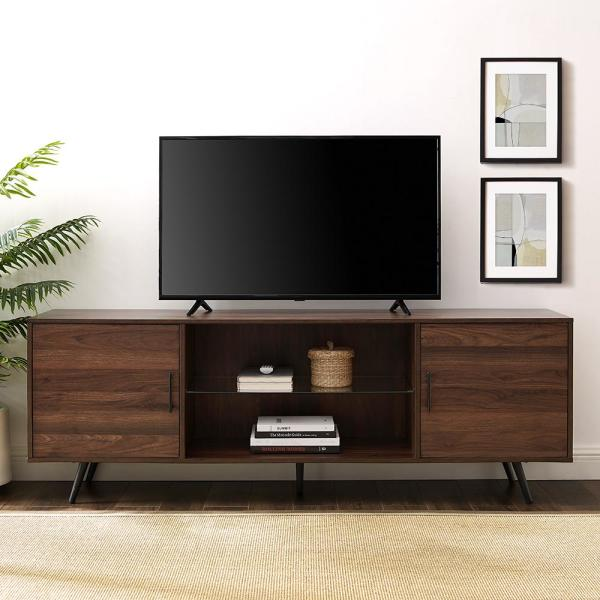 70 in. Dark Walnut Composite TV Stand 75 in. with Doors
