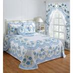 Bloomfield Collection in Floral Design Blue Twin 100% Cotton Tufted Chenille Bedspread