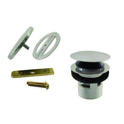 1-1/2 in. NPSM Integrated Overflow Round Tip-Toe Bath Drain with Illusionary Overflow Cover, Satin Nickel