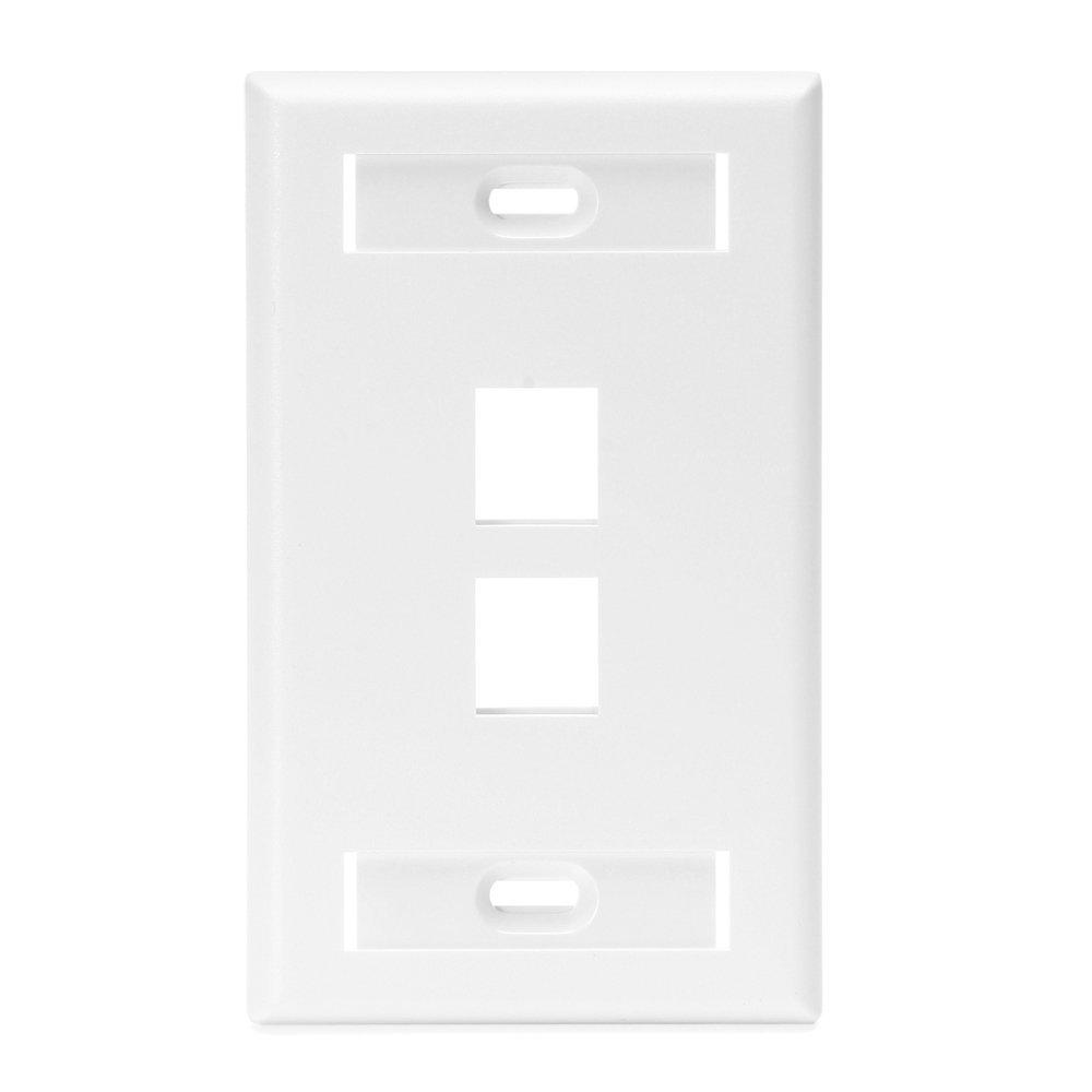 1-Gang Quickport Standard Size 2-Port Wallplate with ID Windows, White