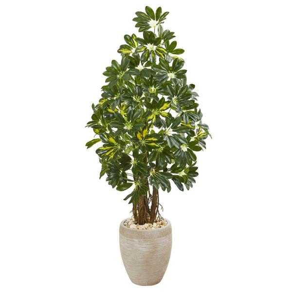 Nearly Natural Indoor 4.5-Ft. Schefflera Artificial Tree in Sand Colored Planter