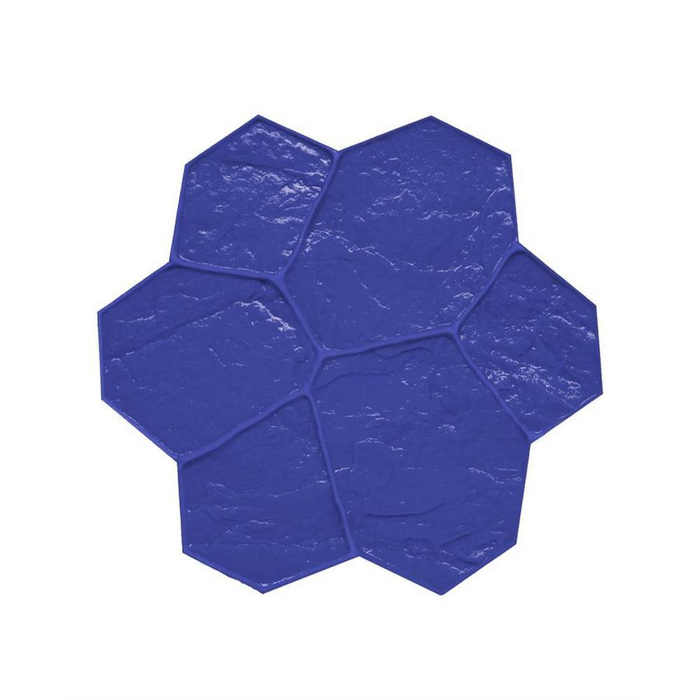 29 in. x 29 in. Random Stone Blue Texture Mat Concrete Stamp