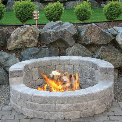 58 in. x 20 in. Concrete Romanstack High Back Fire Pit Kit in Cascade Blend