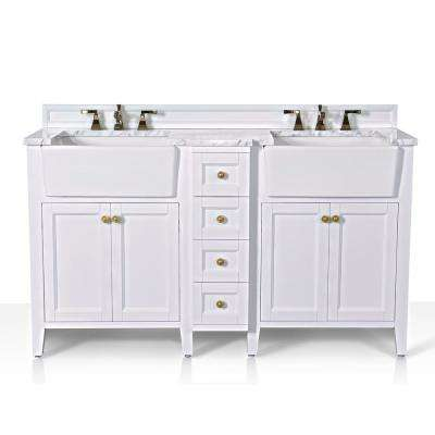 Adeline 60 in. W x 20.9 in. D Bath Vanity in White with Marble Vanity Top in Carrara White with White Basin