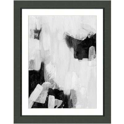"""""""Black and white abstract I"""" Framed Archival Paper Wall Art (20 in. x 24 in. in full size)"""