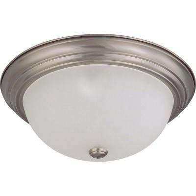 Elektra 3-Light Brushed Nickel Flushmount with Frosted White Glass