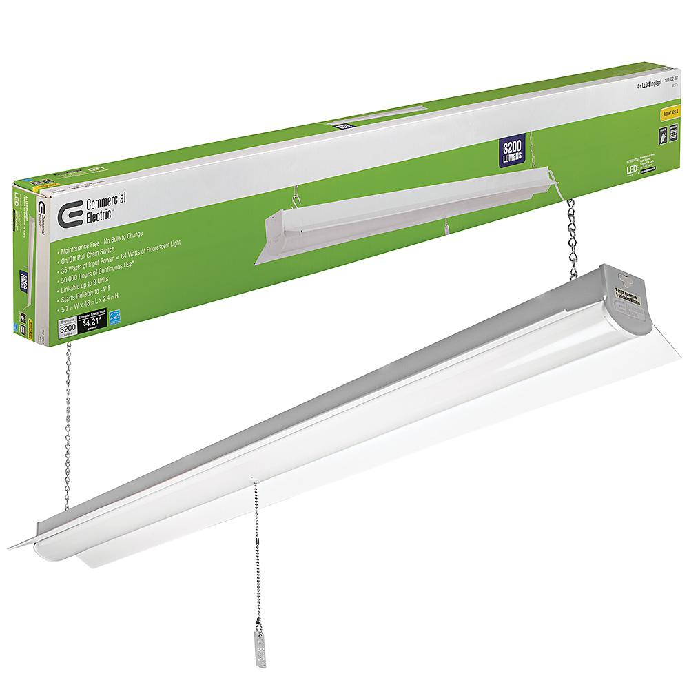 Commercial Electric 4 Ft 64 Watt Equivalent White Integrated Led Light 4000k Bright 3200 Lumens Linkable 5 Cord Included