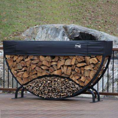ShelterIT 8 ft. Firewood Log Rack with Kindling Wood Holder and Waterproof Cover - Rounded