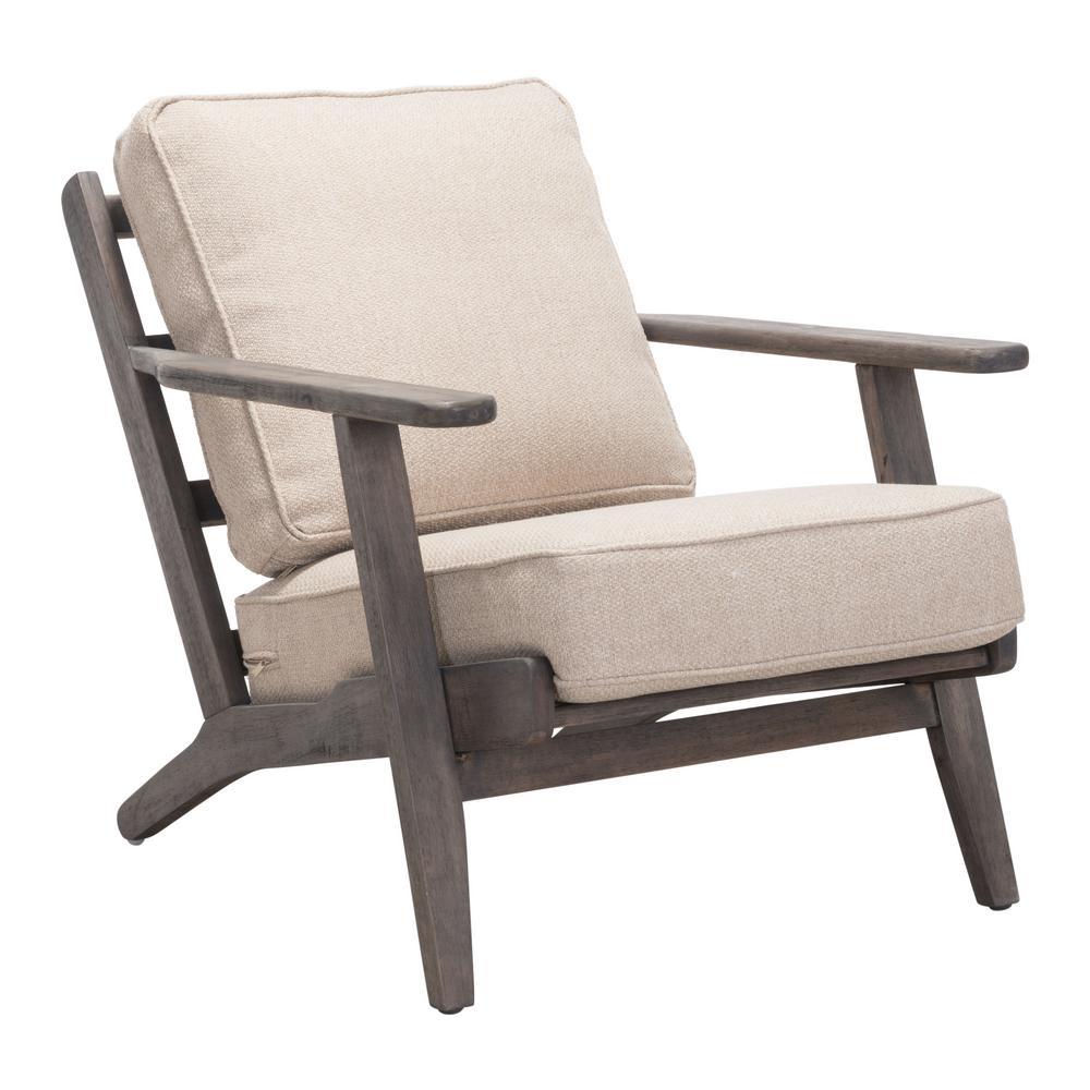 Tahoe Beige and Dark Brown Lounge Chair