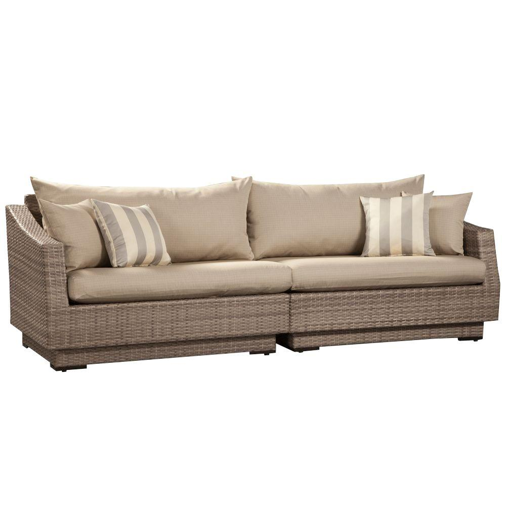 RST Brands Cannes 2Piece Patio Sofa with Slate Grey CushionsOP