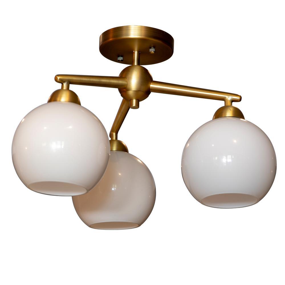 on sale 0f95c 4684b Decor Therapy Michael 3-Light Antique Brass Flush Mount Ceiling Light