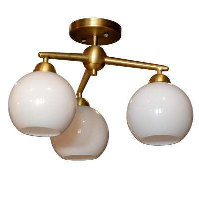 Michael 3-Light Antique Brass Flush Mount Ceiling Light