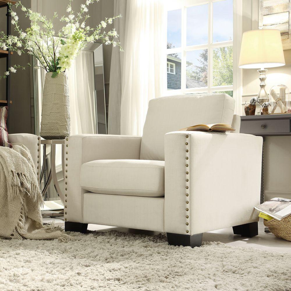 Octavia White Linen Arm Chair