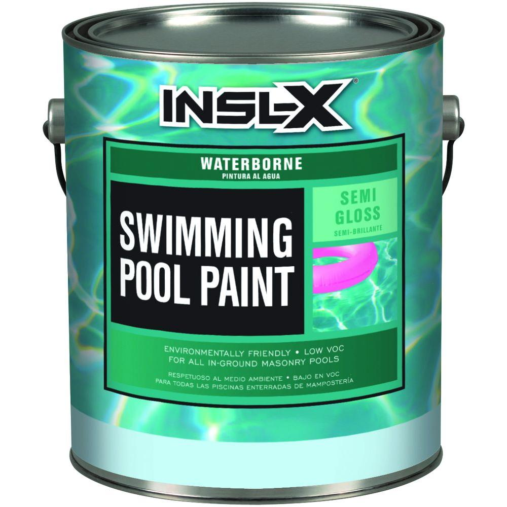 Insl x 1 gal semi gloss acrylic black waterborne swimming for Can you use emulsion paint on canvas