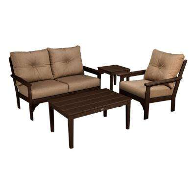 Vineyard Mahogany 4-Piece Plastic Patio Deep Seating Set with Sunbrella Sesame Cushions