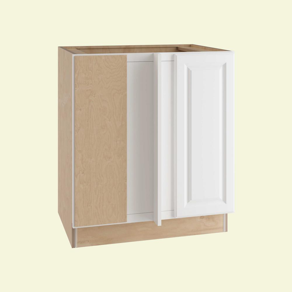 Home Decorators Collection Hallmark Assembled 39x34.5x24 in. Base Blind Corner Left Kitchen Cabinet with Full Height Door in Arctic White