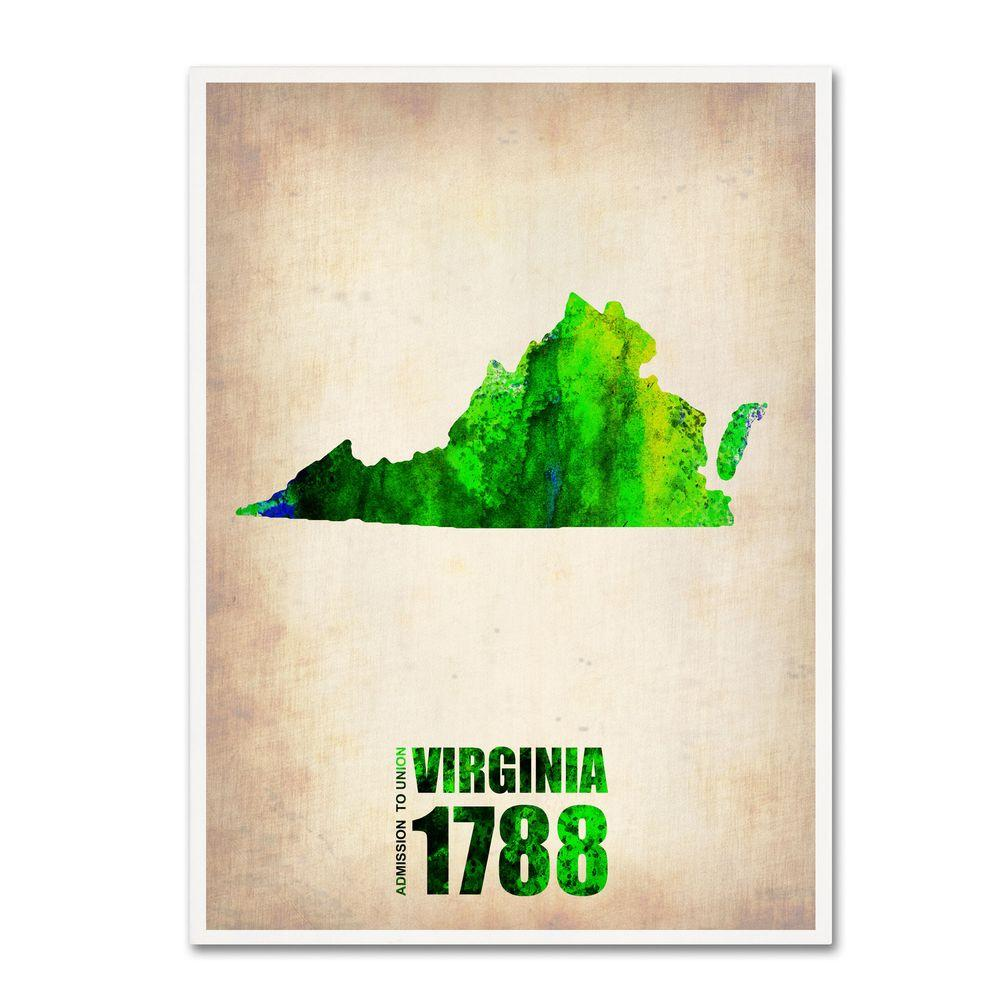 null 24 in. x 18 in. Virginia Watercolor Map Canvas Art