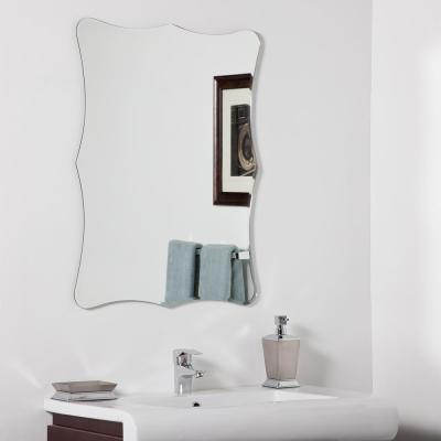 24 in. x 32 in. Single Coquette Rectangular Arched Frameless Bathroom Mirror with Bevel and Polished Edge