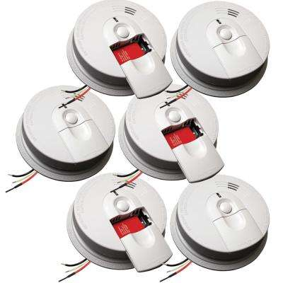 Hardwire Smoke Detector with 9V Battery Backup and Front Load Battery Door (6-pack)