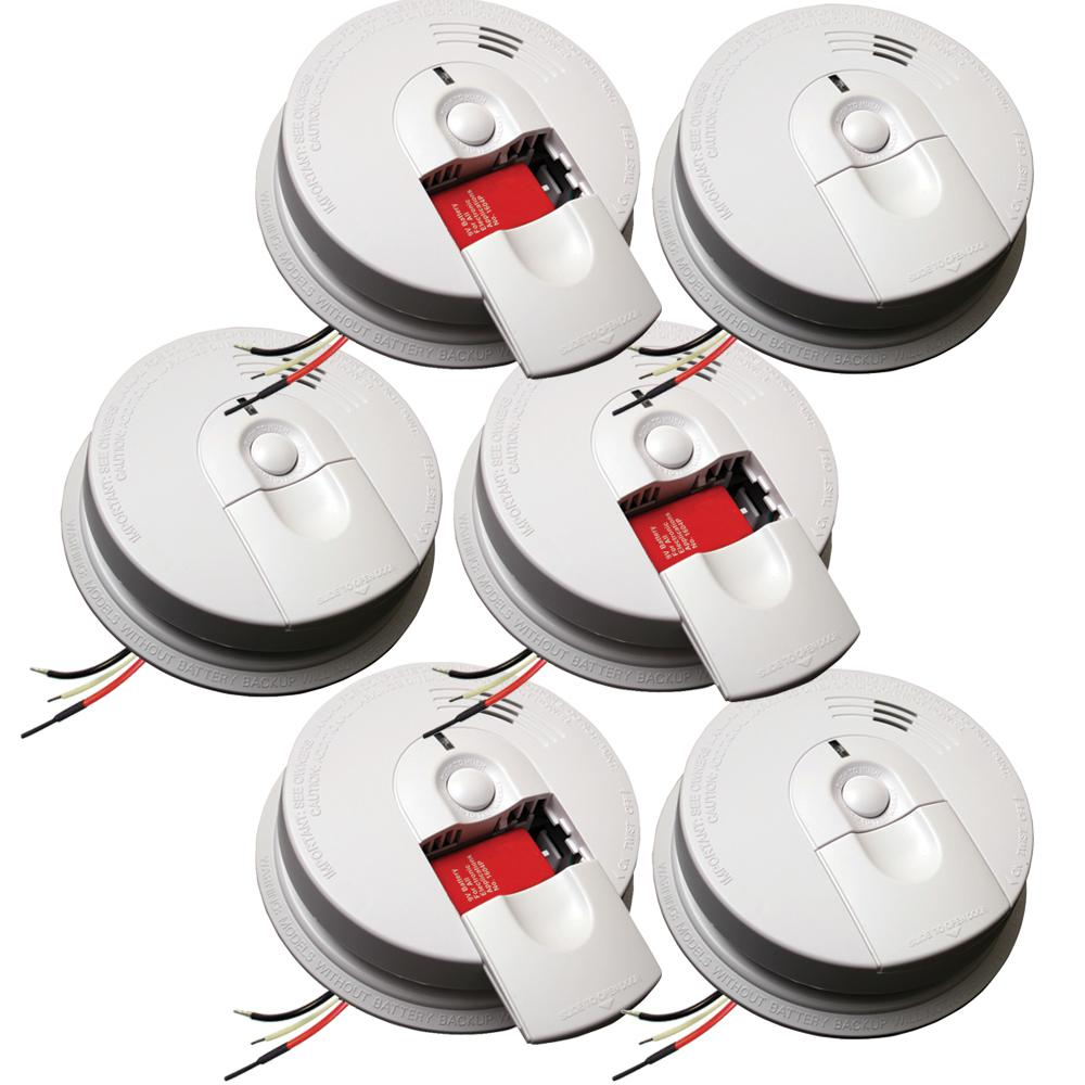 Kidde FireX Hardwire Smoke Detector with 9-Volt Battery Backup and Front Load Battery Door (6-Pack)