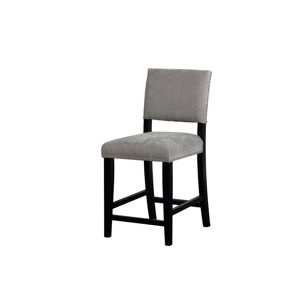 Carolyn 24 in. Dark Gray Washed Velvet Counter Stool