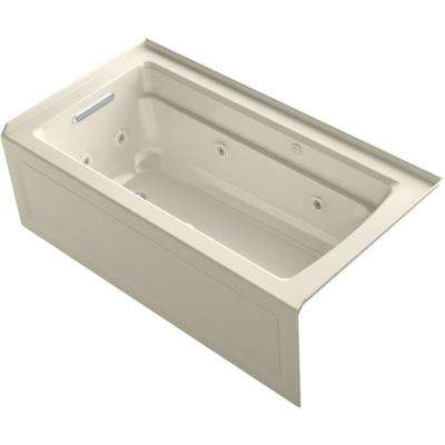 Archer 60 in. Left-Hand Drain Rectangular Apron Front Whirlpool and Air Bath Bathtub in Almond