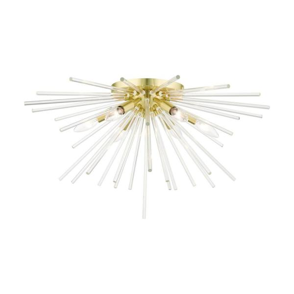Utopia 25.75 in. 6-Light Satin Brass Flush Mount