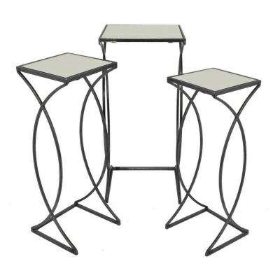 27.5 in. Black Accent Table Mirrored Top (Set of 2)