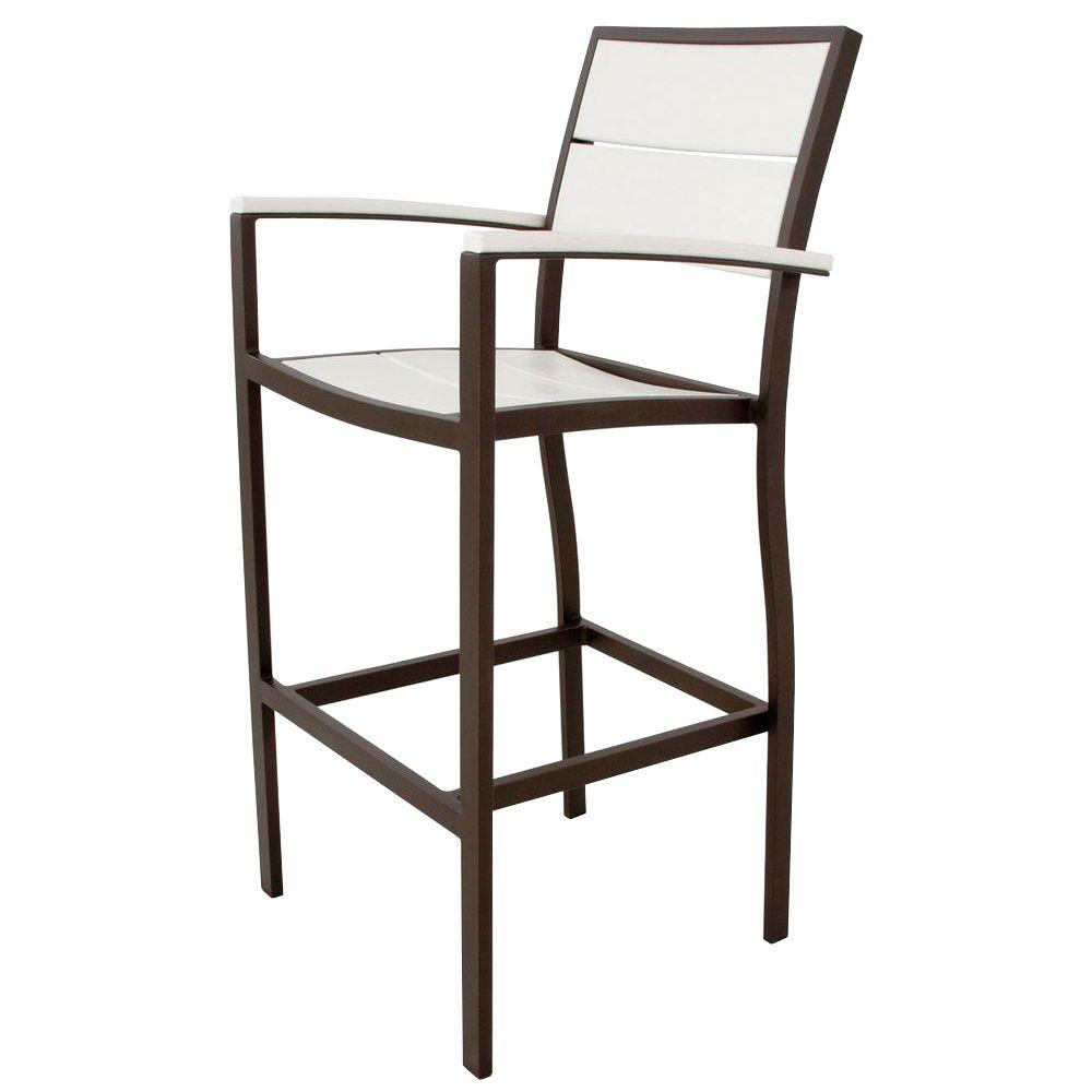 Trex outdoor furniture surf city textured bronze patio bar arm chair with classic white slats Cw home depot furnitures