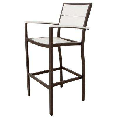 Surf City Textured Bronze Patio Bar Arm Chair with Classic White Slats