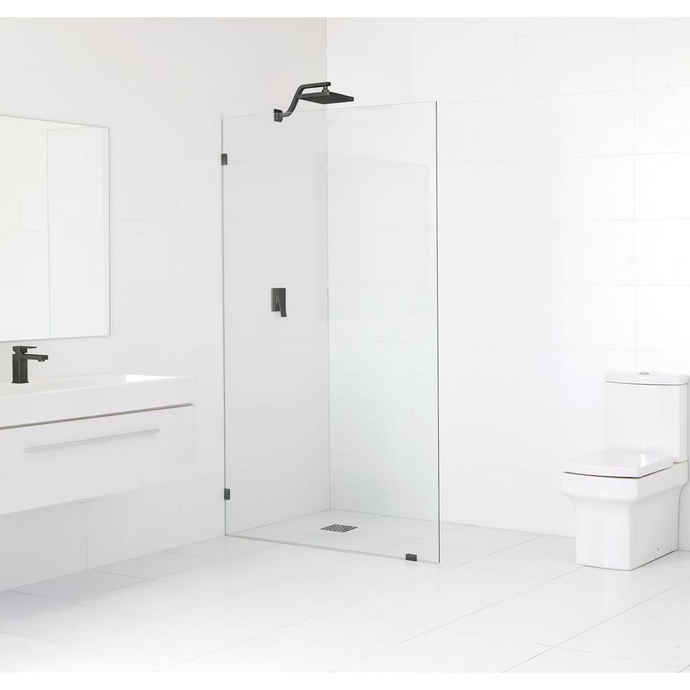 Glass Warehouse 39 in. x 78 in. Frameless Fixed Shower Door in Oil Rub Bronze without Handle