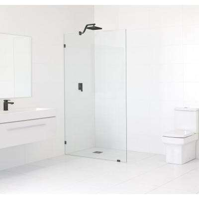 53 in. x 78 in. Frameless Fixed Shower Door in Oil Rub Bronze without Handle