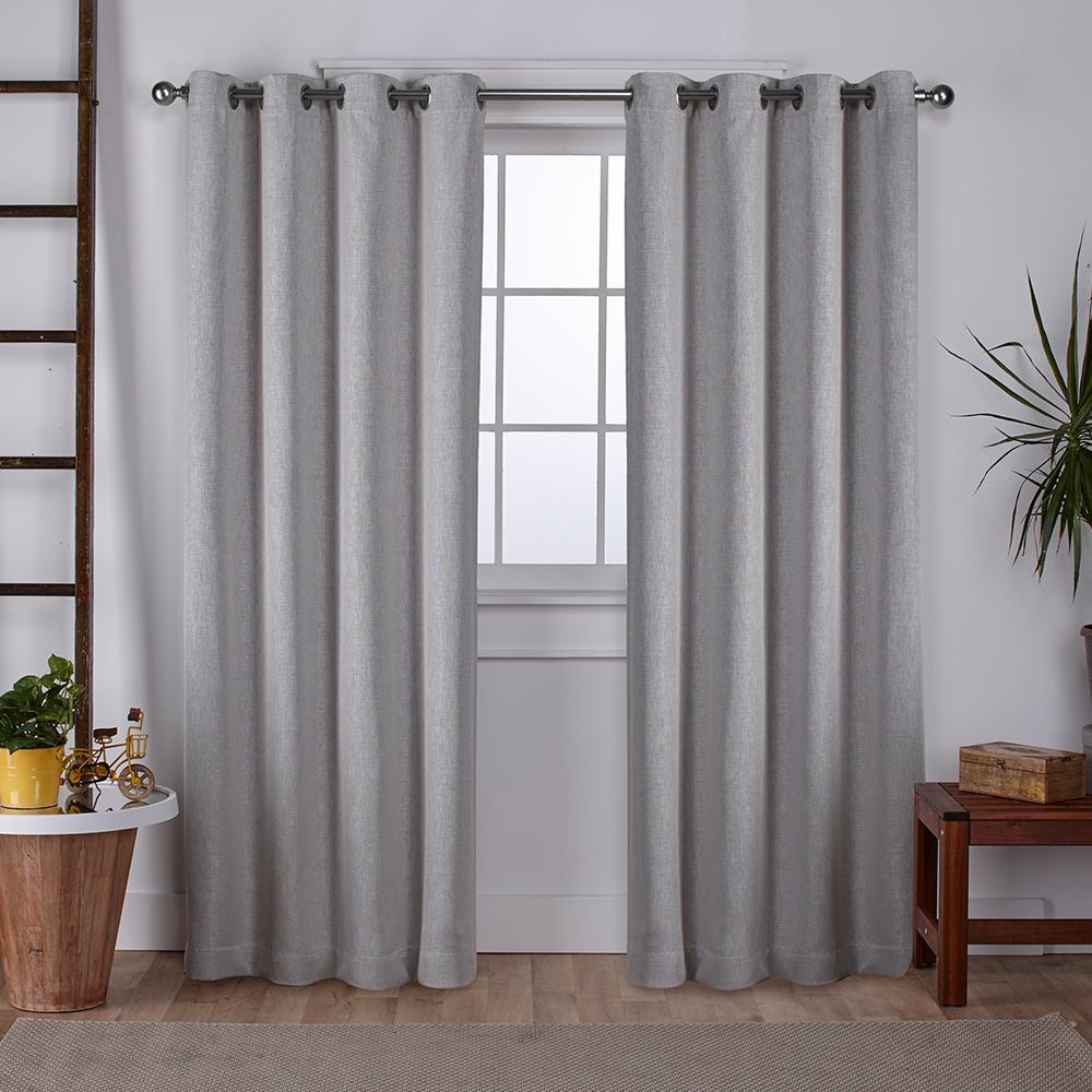 Vesta 52 in. W x 108 in. L Woven Blackout Grommet Top Curtain Panel in Silver (2 Panels)