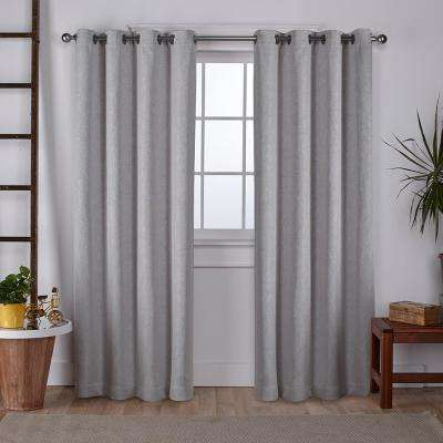Vesta 52 in. W x 108 in. L Woven Blackout Grommet Top Curtain Panel in Silver (2 Panels)
