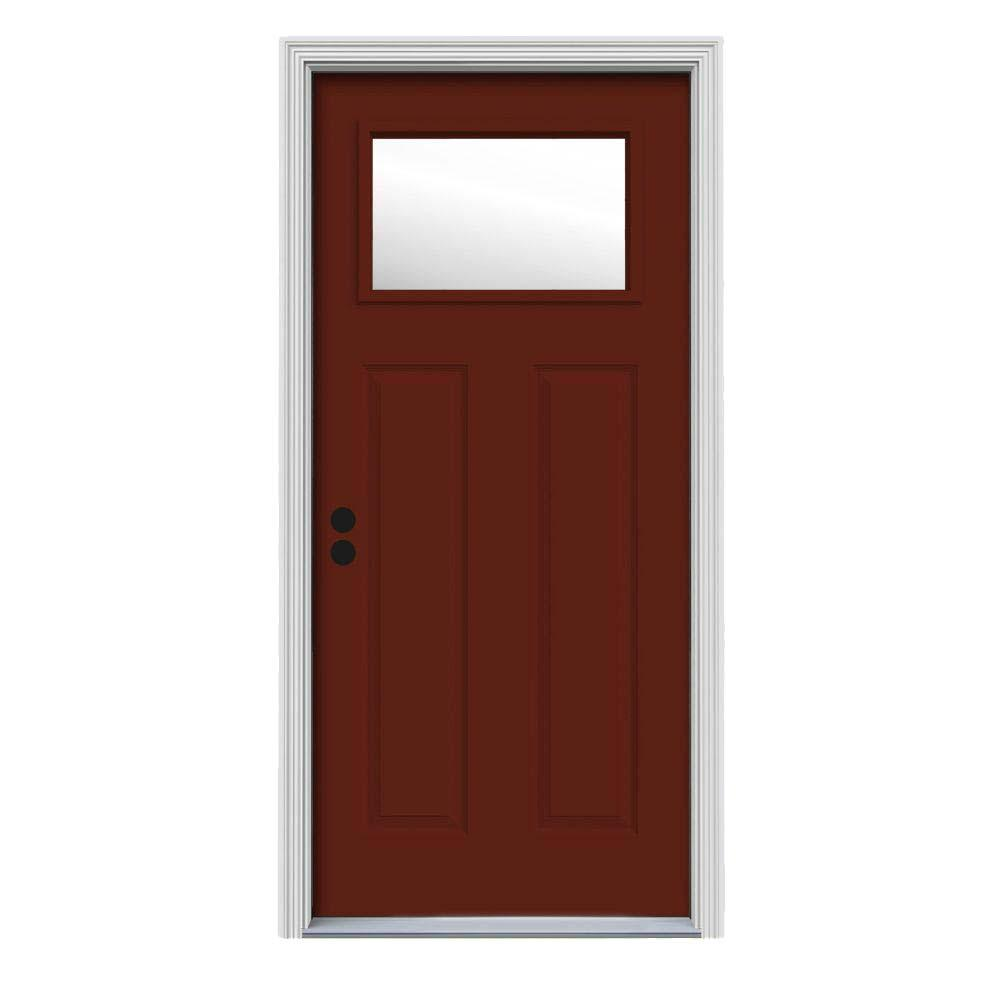 32 in. x 80 in. 1 Lite Craftsman Mesa Red Painted