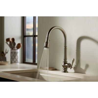 Artifacts Single-Handle Pull-Down Sprayer Kitchen Faucet in Vibrant Polished Nickel