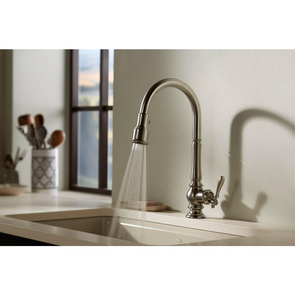 KOHLER Artifacts Single-Handle Pull-Down Sprayer Kitchen Faucet in Vibrant  Stainless