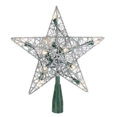9 in. Lighted Silver Wire Star Christmas Tree Topper- Clear LED Lights